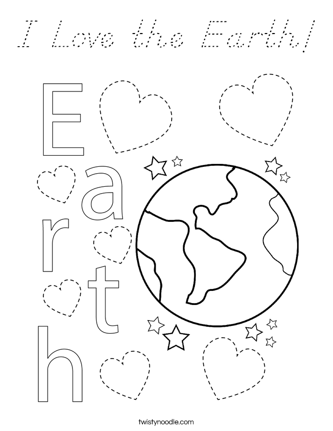 I Love the Earth! Coloring Page