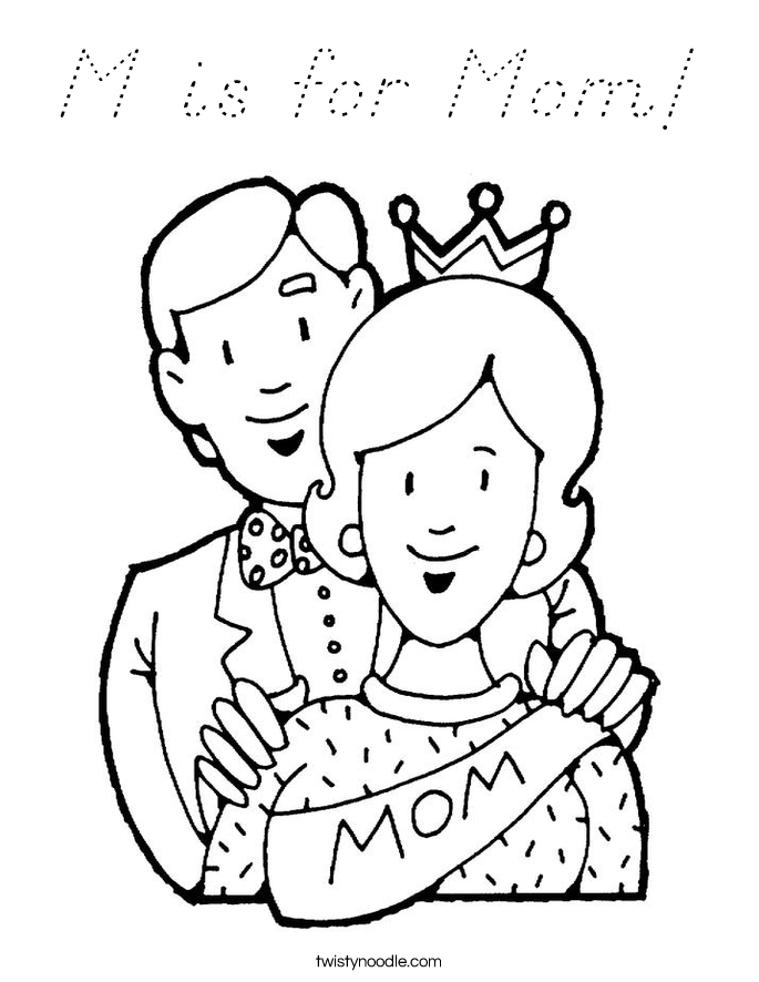 M is for Mom! Coloring Page