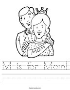 M is for Mom Handwriting Sheet