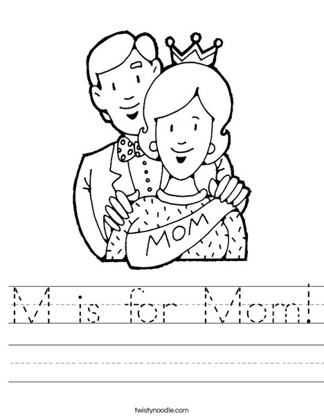 m is for mom worksheet twisty noodle. Black Bedroom Furniture Sets. Home Design Ideas