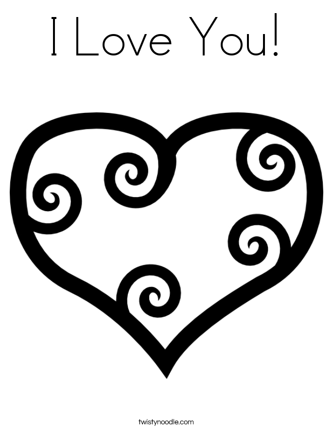 I Love You! Coloring Page.