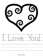 I Love You Handwriting Sheet