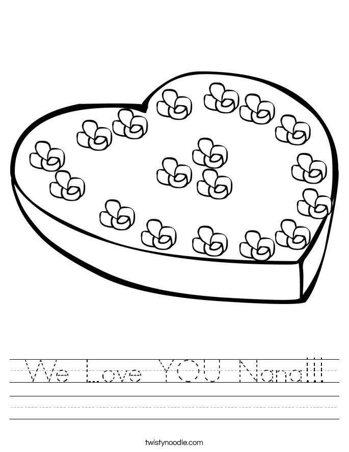We Love YOU Nana!!! Worksheet