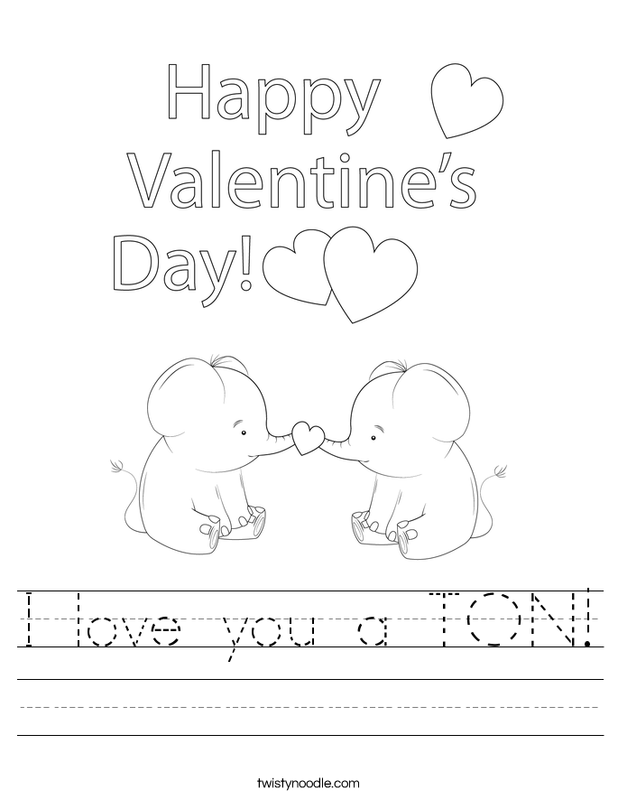I love you a TON! Worksheet