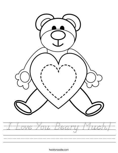 I Love You Beary Much! Worksheet