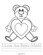 I Love You Beary Much Handwriting Sheet