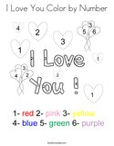 I Love You Color by Number Coloring Page