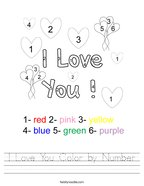 I Love You Color by Number Handwriting Sheet