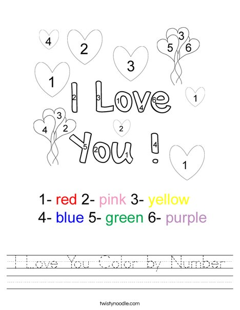 I Love You Color by Number Worksheet