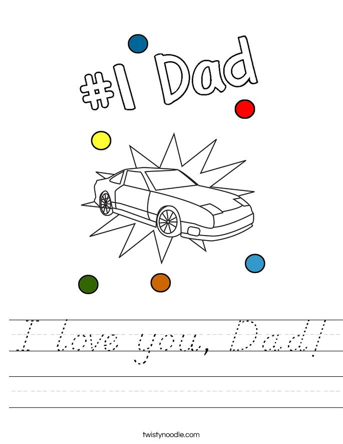 I love you, Dad! Worksheet