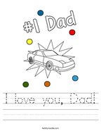 I love you, Dad Handwriting Sheet