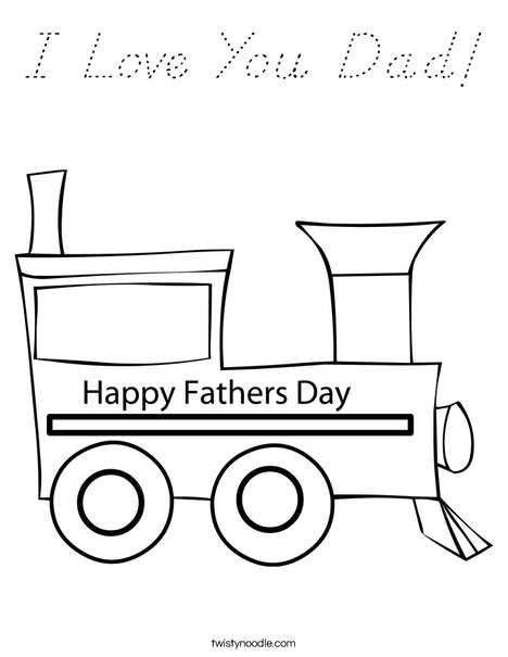 Father's Day Train Coloring Page