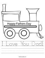 I Love You Dad Handwriting Sheet
