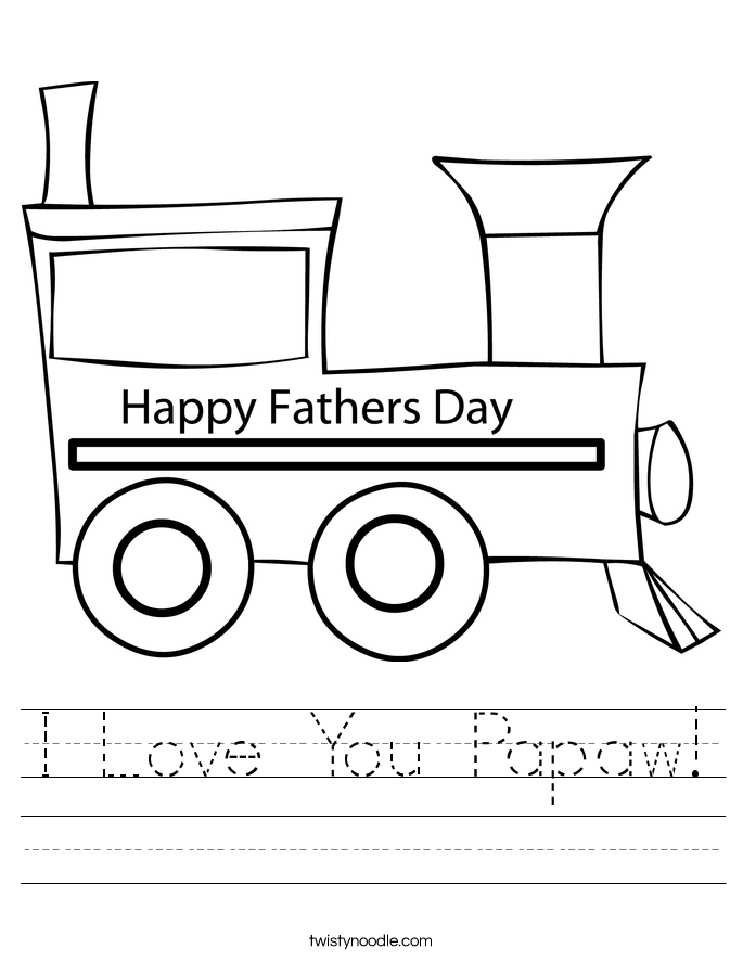 I Love You Papaw! Worksheet