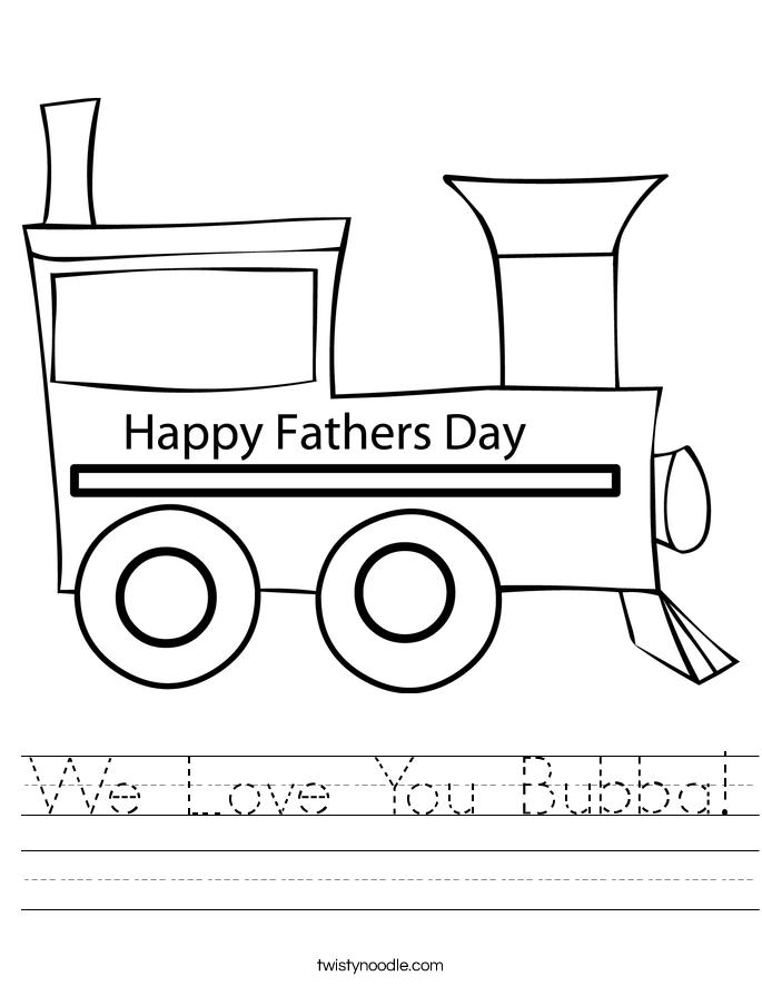 We Love You Bubba! Worksheet