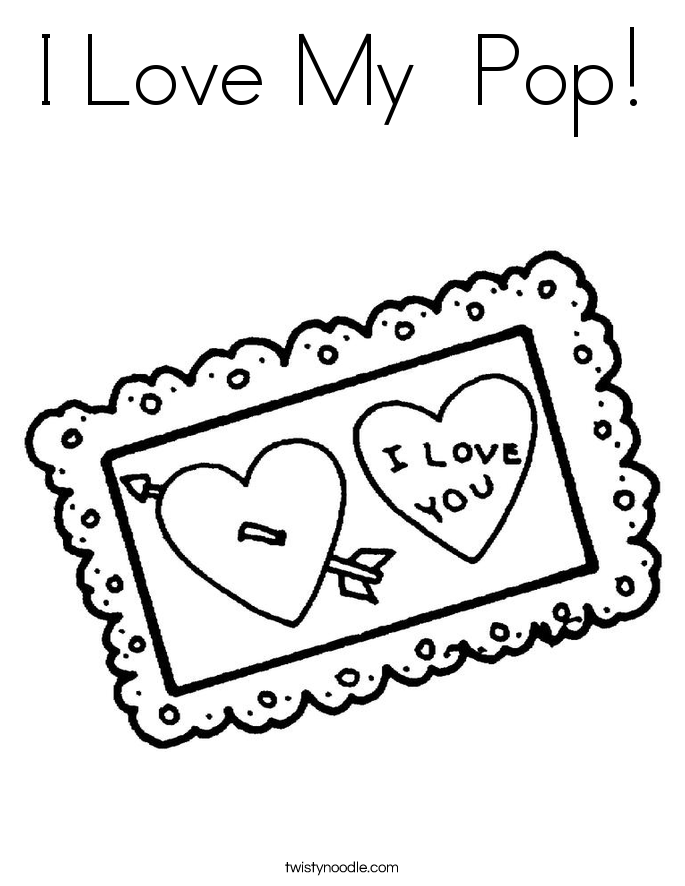 I Love My  Pop! Coloring Page