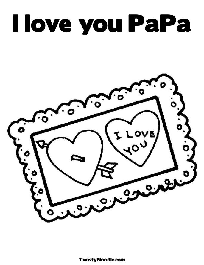 I love You Postcard Coloring Page.