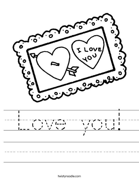 I love You Postcard Worksheet