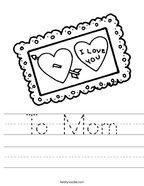To Mom Handwriting Sheet