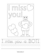 I miss you a BOT Handwriting Sheet