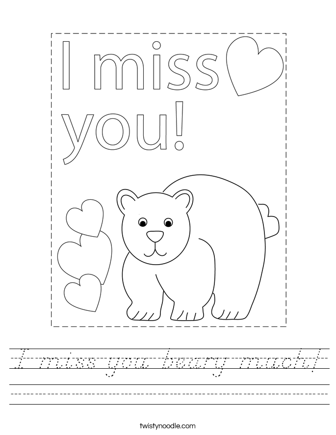 I miss you beary much! Worksheet