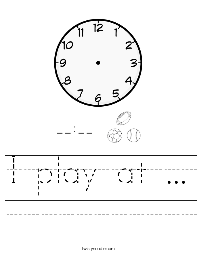 I play at ... Worksheet