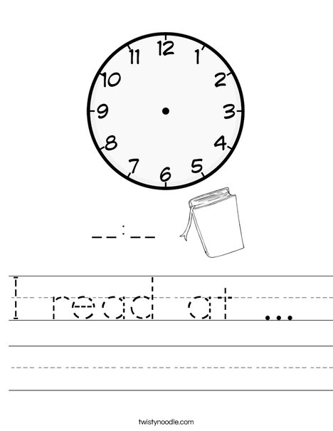 I read at ...  Worksheet