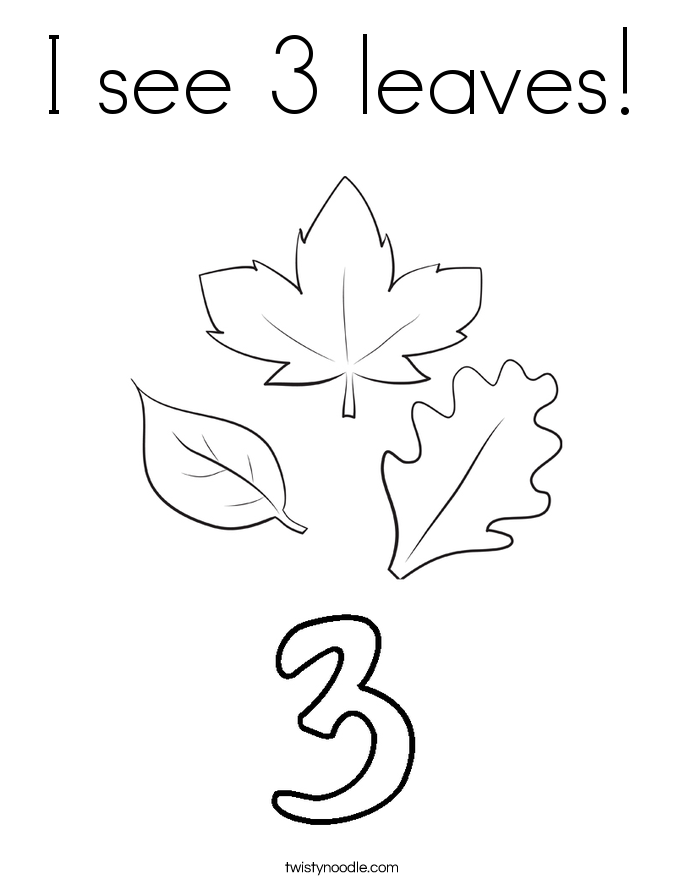 I see 3 leaves! Coloring Page