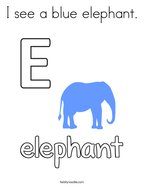 I see a blue elephant Coloring Page