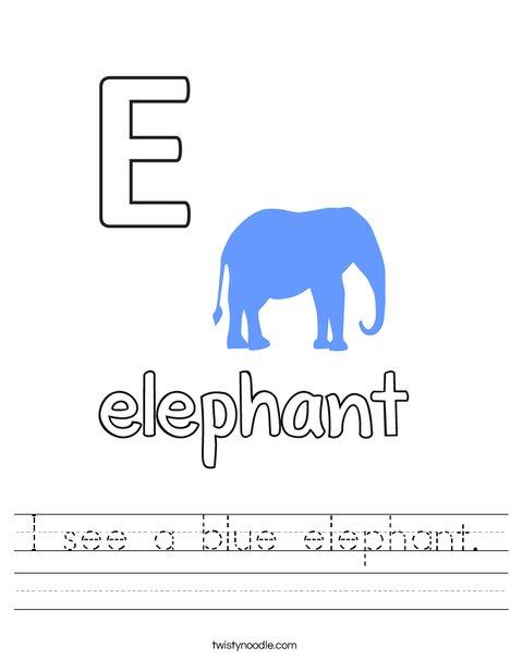 I see a blue elephant. Worksheet