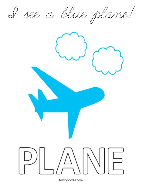 I see a blue plane! Coloring Page