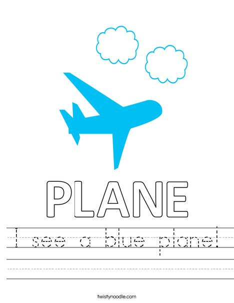 I see a blue plane! Worksheet