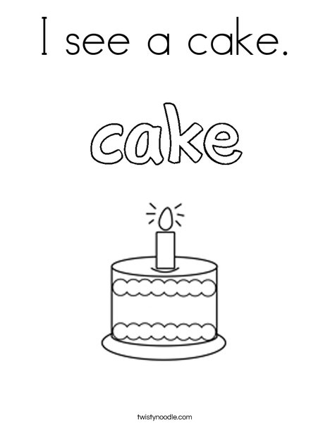 I see a cake. Coloring Page