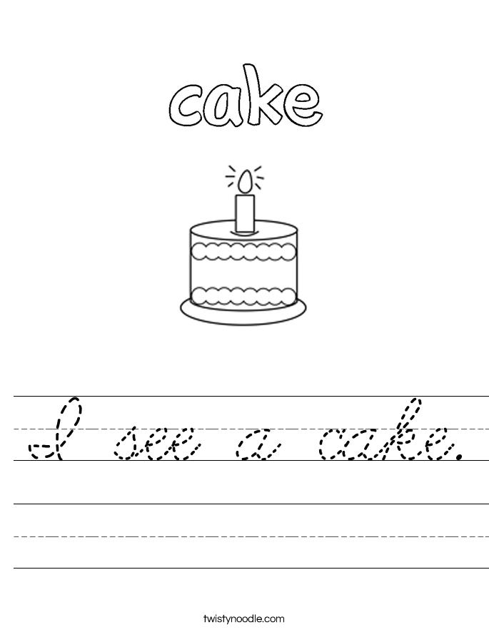 I see a cake. Worksheet