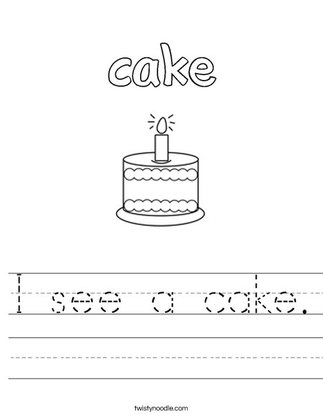 I see a cake. Worksheet