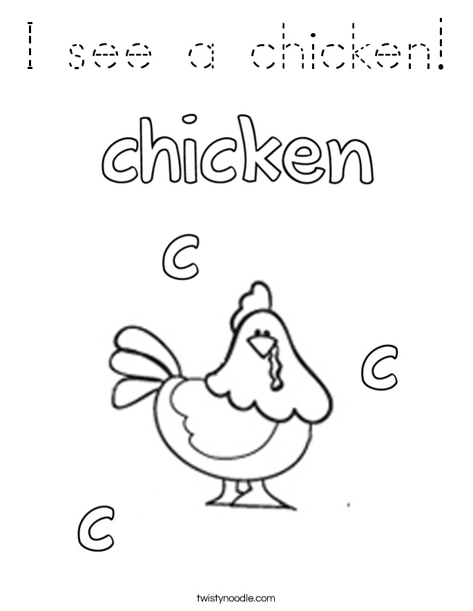 I see a chicken! Coloring Page