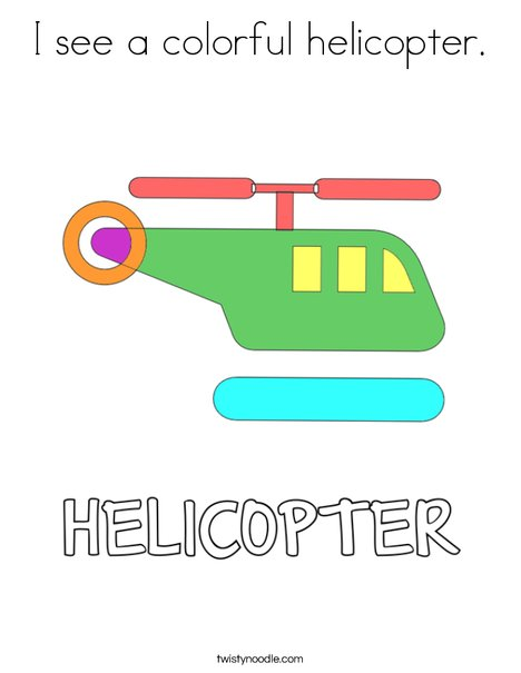 I see a colorful helicopter. Coloring Page