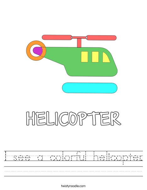 I see a colorful helicopter. Worksheet