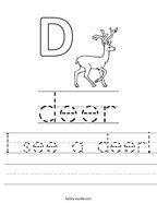 I see a deer Handwriting Sheet