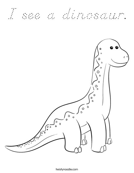 I see a dinosaur.  Coloring Page