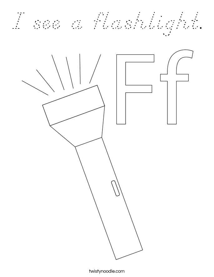 I see a flashlight. Coloring Page