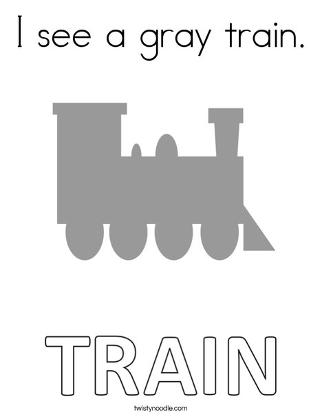 I see a gray train. Coloring Page