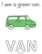 I see a green van Coloring Page