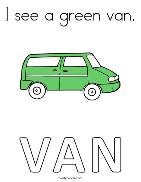I see a green van. Coloring Page