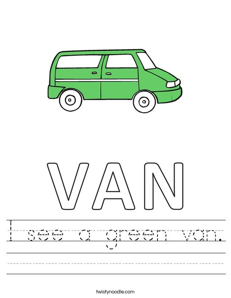 I see a green van. Worksheet