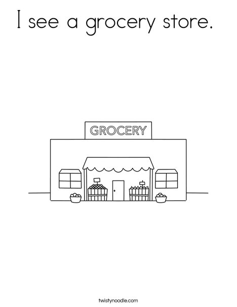 I see a grocery store. Coloring Page
