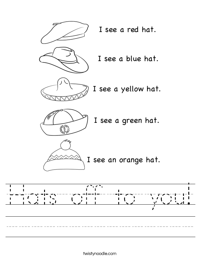 Hats off to you! Worksheet