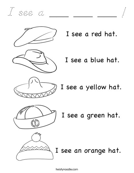 I see a hat! Coloring Page