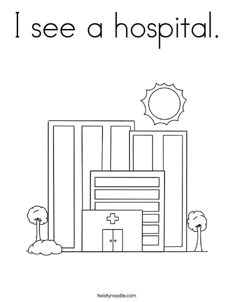 I see a hospital. Coloring Page