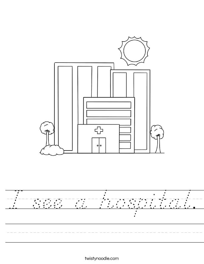 I see a hospital. Worksheet